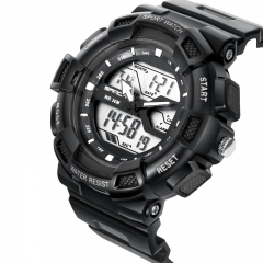 Lovers Sports Waterproof Personality Fashion Trend Brand Watches Double Display man-blk-blk onesize