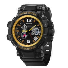 Sports Waterproof Personality Fashion Trend Brand Wrist Watch Double Display blk-gold onesize