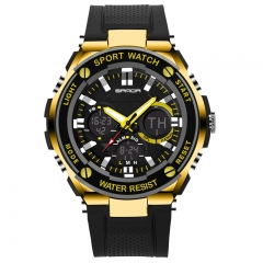 Fashion Watch Casual And Simple Sports Waterproof Watch Multi-Function Watch blk-gold onesize