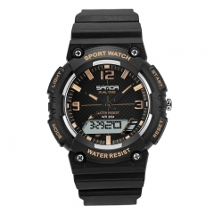 Double Display Electronic Watch Waterproof Outdoor Korean Edition Simple Fashion blk-gold onesize