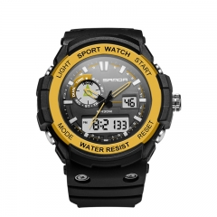 Men's Wrist Watch Outdoor Sports Men's Night Light Waterproof Digital Electronic Watch blk-gold onesize