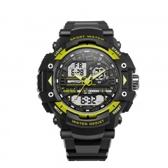 Multi-Functional Double Display Electronic Watch Sports Waterproof Outdoor Watch blk-gold onesize