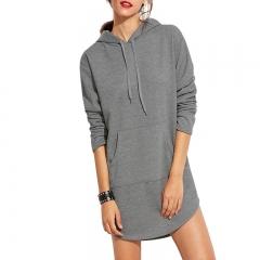 Women's Dresses Long Sleeves Loose Bottoming Blouses Hoodie gray s