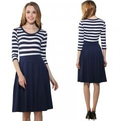 Fashion Women's Seven Split Sleeve Round Striped Big Pendulum Dress s blue
