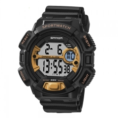 Men's Wrist Watch Waterproof Electronic Multi-function Digital LED Sports Watch blk-gold onesize