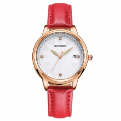 Fashion Simple Women's Watch Willow Leaf Exquisite Quartz Watch Woman Wristwatch red