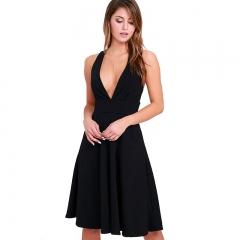 Fashion Women's Clothes Skirt Deep V Dress Sleeveless Skirt Short Skirt black s