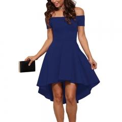 Fashion Women's Clothes Skirt Dress Short sleeve Short Skirt Dovetail Skirt s blue