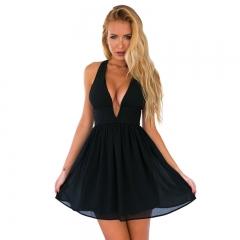Fashion Sexy Chiffon Deep V Sling Black Skirt Dress Women's Clothes s black