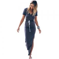 Fashion Women's Clothes Short Sleeve Dress Long Skirt Dress s blue