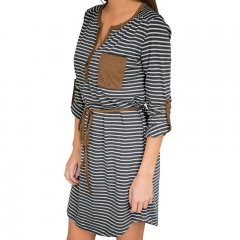 Fashion Women's Clothes Stripes Long Sleeve Dress Long Dress V-Neck s one