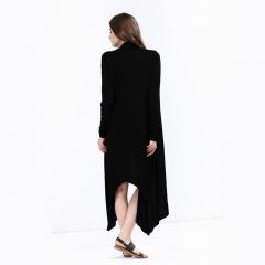 Fashion Women's Clothes Long Sleeved Windcoat Long Coat Knitted Long Shirt black s