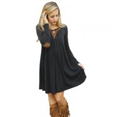 Fashion Women's Clothes Long Sleeved Short Skirt Dress s black