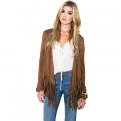 Fashion Women's Clothes Tassels Long sleeved coat picture shows s