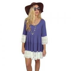 Fashion Hot Sale Women's Clothes Double Color Loose Lace Dress s blue