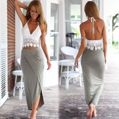 Fashion Women's Clothes Lace Vest And Dress Two-piece Suits Skirt s White coat Grey skirt
