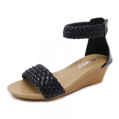 Fashion Soft And Comfortable Women's Shoes Sandals Knitted Style black 35