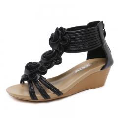 Fashion Soft Comfortable Women's Shoes Flower Design Sandals black 35
