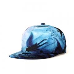 3D Printed Outdoor Baseball Cap Cricket Cap Street Dance Hip-hop Printing Cap blue