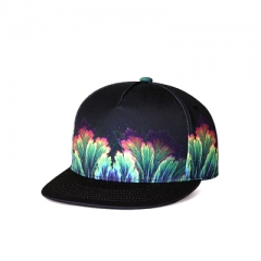 New Hip-hop Flat-eaved Hat Fashion Printed Outdoor Baseball Cap for Men and Women black