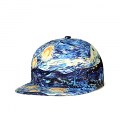 Flat-eaved Outdoor Baseball Cap Hip-hop Cap Duck-tongue Cap 3D Printed Cap for Men and Women blue