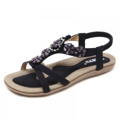 New Sandals Flower Decoration Women's Shoes Flat Shoes Soft And Comfortable black 35