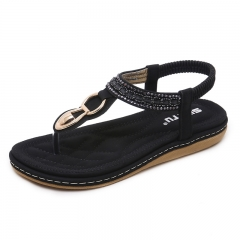 Casual Fashion Women's Shoes Soft Comfortable Flat Shoes Sandals black 35