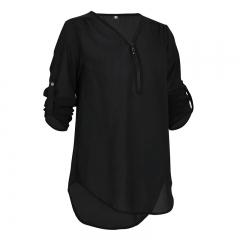 Soft And Thin Chiffon Jacket Chiffon Shirt black s