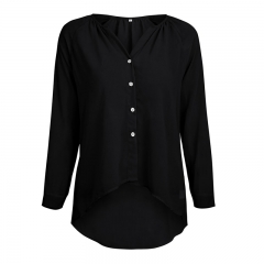 Women's Clothes Long Sleeved Chiffon Shirt Soft And Thin black s