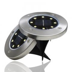 Outdoor Courtyard Garden Waterproof 8 LED Stainless Steel Solar Lawn Lamp Buried Lights Warm light 12cm 4w