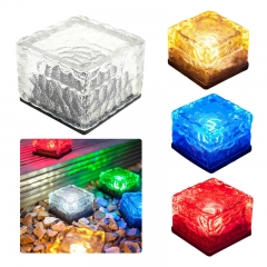 Solar Glass Ice Brick Lamp Courtyard Ground Lamp Colorful Lawn Lamp white 0.06W
