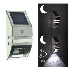 LED Stainless Steel Household Solar Garden Lamp Outdoor Wall Lamp Human Body Induction Street Lamp white 0.5w