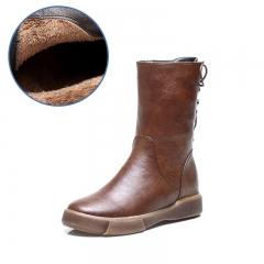 Flat Bottomed Velvet Cotton Boots Medium Tube Retro Women's Boots Martin Boots Keep Warm brown 35
