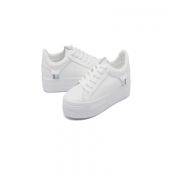 Flat Bottomed Microfiber Canvas Shoes Casual Women's Shoes Girls Thick Bottom Shoes white 35