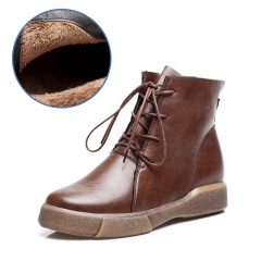 Vintage Flat Bottomed Boots Martin Boots Plus Velvet Cotton Boots Casual Boots brown 35