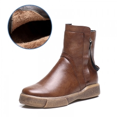 Vintage Flat Bottomed Short Boots Keep Warm Plus Velvet  Cotton Boots Casual Women's Boots brown 35