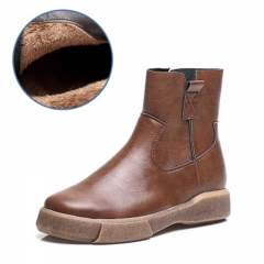 Vintage Flat Bottomed Short Boots Casual Women's Boots Keep Warm Plus Velvet  Cotton Boots brown 35
