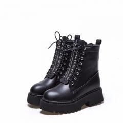 Short Boots Thick bottom Casual Women's Boots Keep Warm Plus Velvet  Cotton Boots black 35
