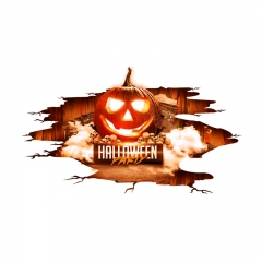 Red Flame Halloween Sticker Green Pumpkin Lamp Wall Stickers red one-size