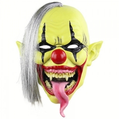 Horror Green Face Clown Mask Halloween Christmas Latex Mask one-size onesize