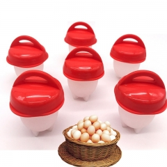Silicone Egg Poacher Cups Steamer 6pcs/set Egglettes Egg Cooker Hard Boiled Egg Molds Egg tools red one-size