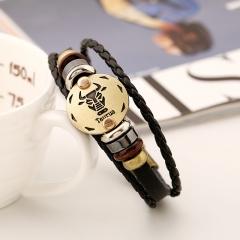 Leather bracelet beads alloy design style Twelve constellations alloy pattern knitting bracelet taurus one size