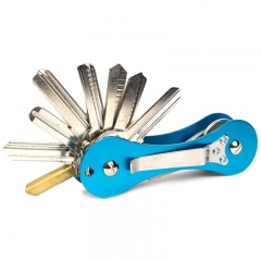 New Aluminum Smart Key Holder Organizer Clip Folder Keychain Pocket Tool blue one-size