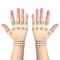 1Pair Arthritis Joints Braces Gloves Magnetic Gloves Hand Pain Relief Compression Therapy Gloves white