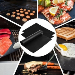 2pcs BBQ Grill Mat Barbecue Baking Liners Reusable Teflon Cooking Sheets black one-size
