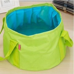 Portable Outdoor Travel Foldable Basin Outdoor Washes Feet Washing Bag Water Bucket 15L green one-size