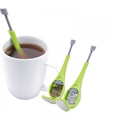 Healthy Food Grade Total Tea Infuser Gadget Measure Swirl Steep Stir Press Tea&Coffee Strainer green one-size