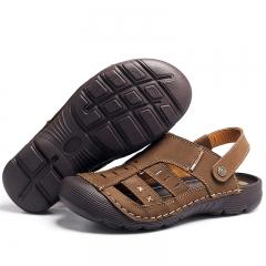 Cow Leather Toe Protect Men  Slippers Outdoor Men SummeSoft Bottom Walking  Casual Sandals khaki 44