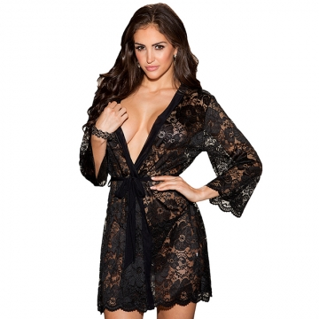 Black deep V-neck long-sleeved hollow lace lace tie cardigan robe Black m