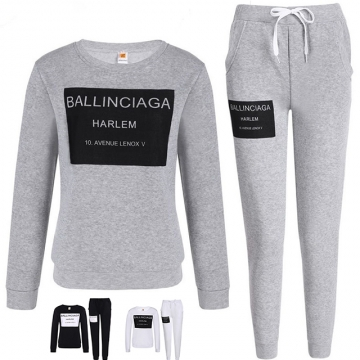 Sweater Sports casual Set Round Collar Long Sleeve Box Letter Print Gray m